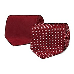 The Collection - Pack of two wine red spotted ties
