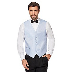 Black Tie - Big and tall light blue textured waistcoat
