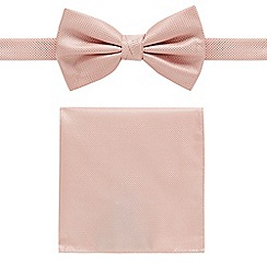 Black Tie - Pink textured bow tie and pocket square