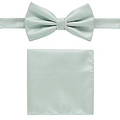 Black Tie - Light green textured bow tie and pocket square