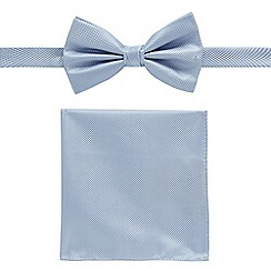 Black Tie - Blue textured bow tie and pocket square