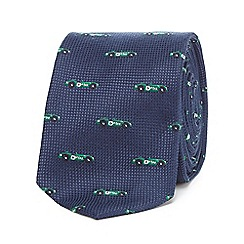 The Collection - Navy car print slim tie
