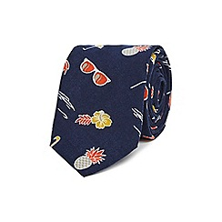 Red Herring - Navy printed slim tie