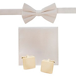 Black Tie - White bow tie, pocket square and cufflinks set
