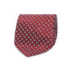 The Collection - Dark red mini clover geometric print tie