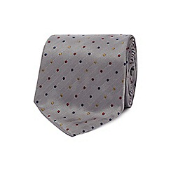 The Collection - Grey spot pattern tie with a bar