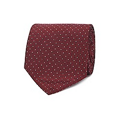 The Collection - Dark red dotted grid print tie