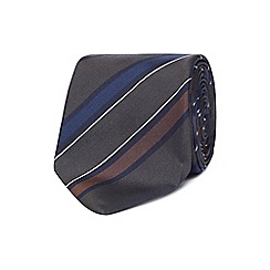 The Collection - Olive green stripe silk tie