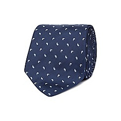 The Collection - Navy mini paisley print silk tie