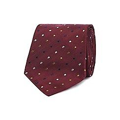 The Collection - Dark red silk spot print slim tie