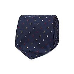 The Collection - Navy herringbone spot print silk tie