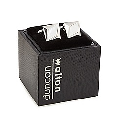 Duncan Walton - Silver plated white 'Heartwood' square cufflinks in a gift box