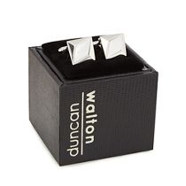 Duncan Walton Silver Plated White Heartwood Square Cufflinks In A Gift Box