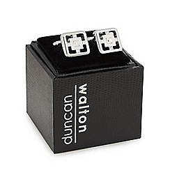 Duncan Walton - Silver plated 'Porter' clear crystal square cufflinks in a gift box