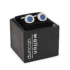 Duncan Walton - Silver plated blue 'Sulston' circular cufflinks in a gift box