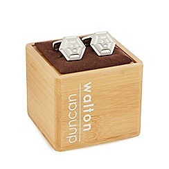 Duncan Walton - Silver plated crystal centre octagon cufflinks in a gift box