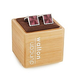 Duncan Walton - Silver plated purple 'Masson' cat eye square cufflinks in a gift box
