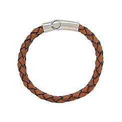 Duncan Walton - Brown 'Foster' leather woven bracelet
