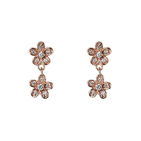 Van Peterson 925 - Rose gold vermeil daisy row earrings