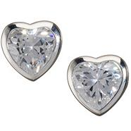 Sterling silver 'heartfelt' stud earrings