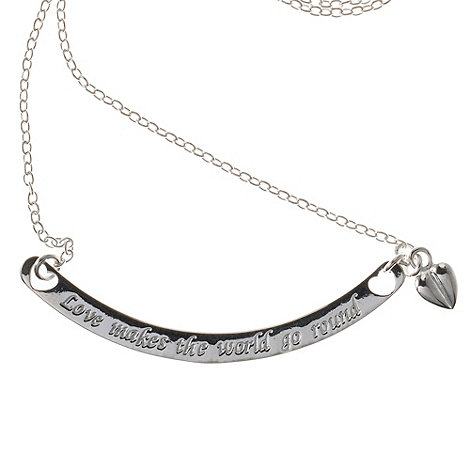 Van Peterson 925 - Sterling silver +Love Makes the World go Round+ bar necklace