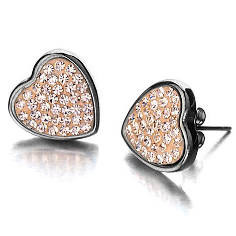 Shimla - Heart shaped earrings with rose gold crystals