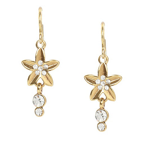 Pilgrim - Gold flower and stone drop earrings
