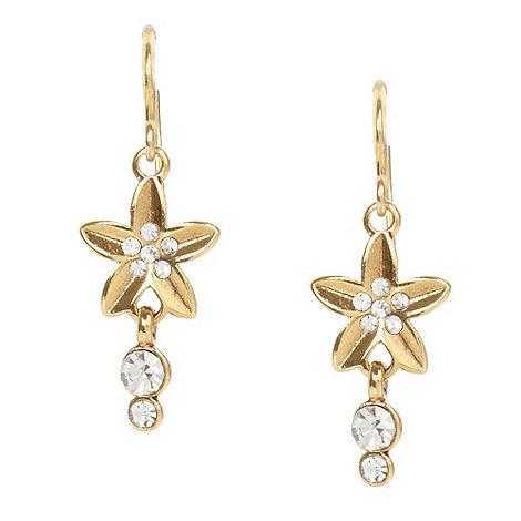 Pilgrim - Gold flower and stone drop earrings