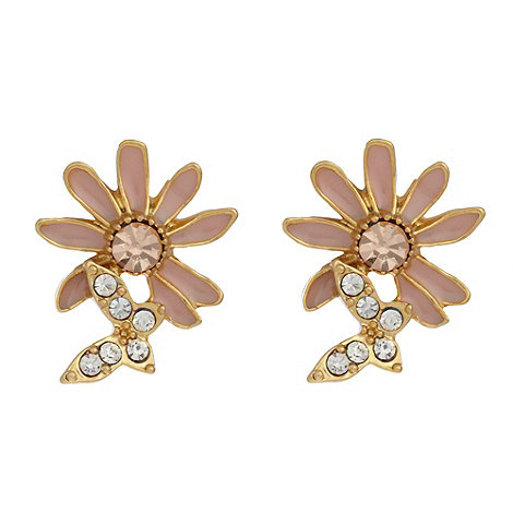 Pilgrim - Silver flower and butterfly stud earrings