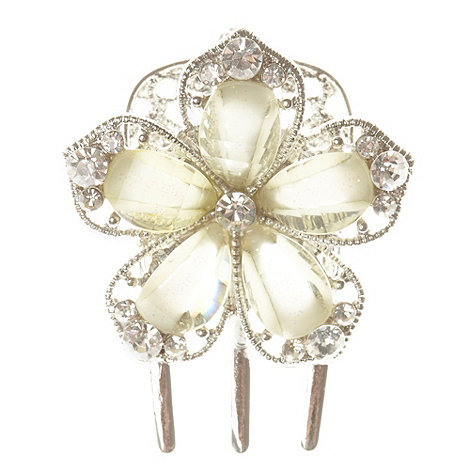 The Collection - Set of two silver stone flower hair clips