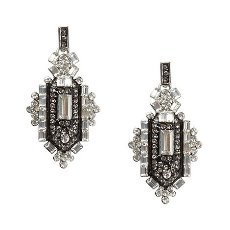 The Collection - Silver deco drop earrings