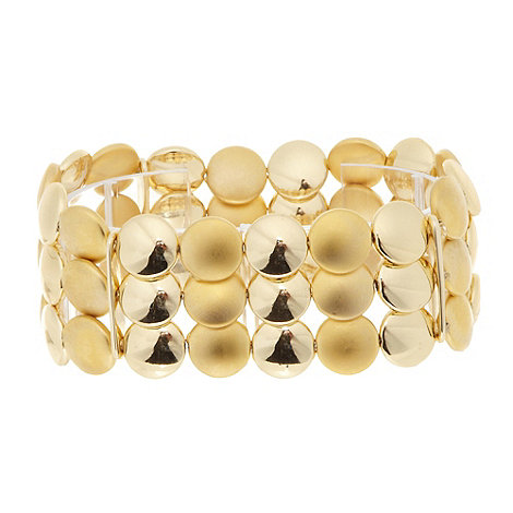 The Collection - Gold mixed disc stretch bracelet