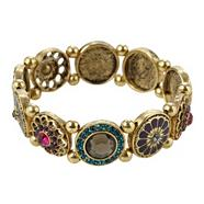 Gold flower disc stretch bracelet