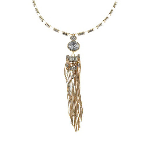 No. 1 Jenny Packham - Designer gold baguette stone and tassel pendant necklace