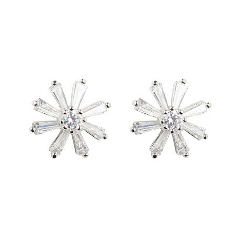 No. 1 Jenny Packham - Designer silver snowflake stone earrings