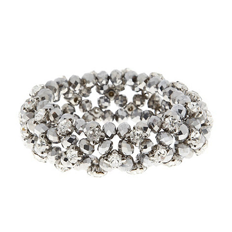 No. 1 Jenny Packham - Designer silver clustered bead and diamante stretch bracelet