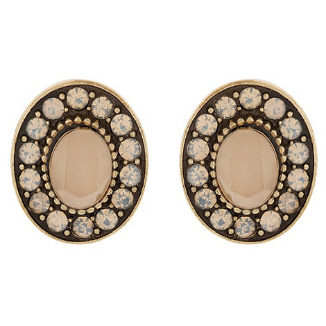 Martine Wester - Fable crystal and opal encrusted oval stud earrings
