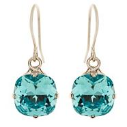 Light turquoise cushion drop earrings