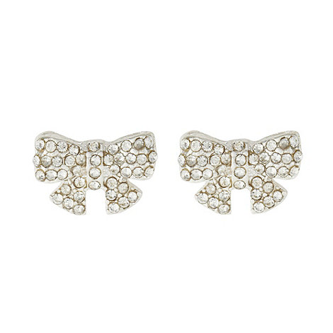 Floozie by Frost French - Silver pave bow earrings