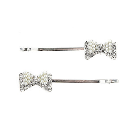 Floozie by Frost French - Silver double bow hair slides