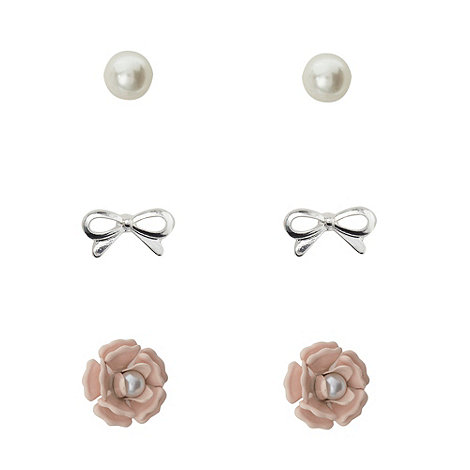 Floozie by Frost French - Pack of three pearl bow and flower stud earrings
