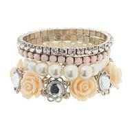 Set of four pearl rose and stone stretch bracelets