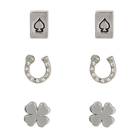 Floozie by Frost French - Set of three silver charm stud earrings