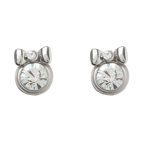 Floozie by Frost French - Silver stone bow stud earrings