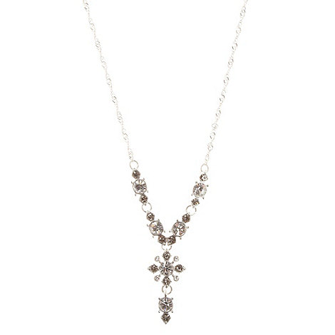 Pilgrim - Silver two tone stone drop necklace