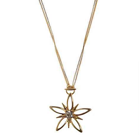 Pilgrim - Gold cutout flower pendant necklace