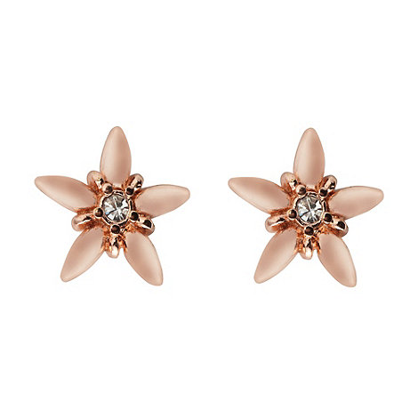Pilgrim - Rose gold flower outline stud earrings