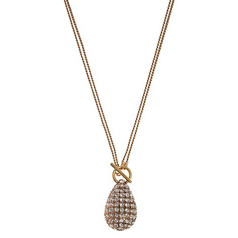 Pilgrim - Gold pave teardrop pendant necklace