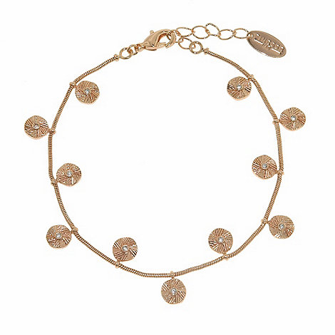 Finesse - Rose gold textured coin charms bracelet