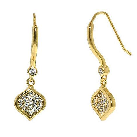 Finesse - Gold feuille d+or cz drop hook earrings